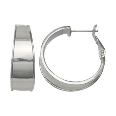 Silver Reflections Silver Plated 25mm Polished Wd Pure Silver Over Brass 25mm Round Hoop Earrings