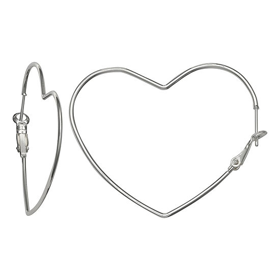 Silver Reflections Pure Silver Over Brass 42mm Heart Hoop Earrings