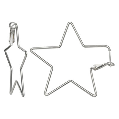 Silver Reflections Silver Plated 50mm Star Pure Silver Over Brass 47mm Star Hoop Earrings