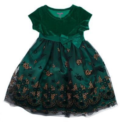 Nanette Baby Short Sleeve Empire Waist Dress - Toddler Girls