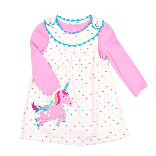 Nannette Baby Girls Short Sleeve Jumper - Toddler