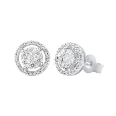 1/2 CT. T.W. Genuine Diamond 14K White Gold 9.5mm Stud Earrings