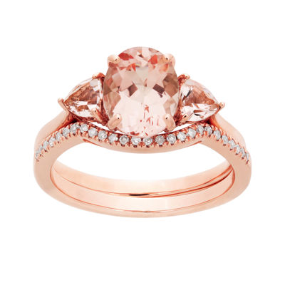 Modern Bride Gemstone Womens 1/6 CT. T.W. Genuine Pink Morganite 10K Rose Gold Bridal Set