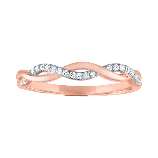 Womens 1/10 CT. T.W. Genuine White Diamond 10K Rose Gold Wedding Band