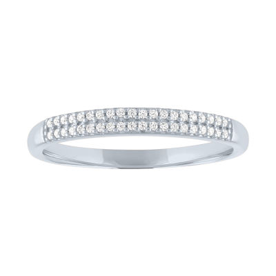 Womens 1/10 CT. T.W. Genuine White Diamond 10K White Gold Wedding Stackable Ring
