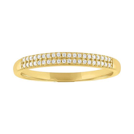 Womens 1/10 CT. T.W. Genuine White Diamond 10K Gold Wedding Stackable Ring