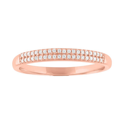 Womens 1/10 CT. T.W. Genuine White Diamond 10K Rose Gold Stackable Ring