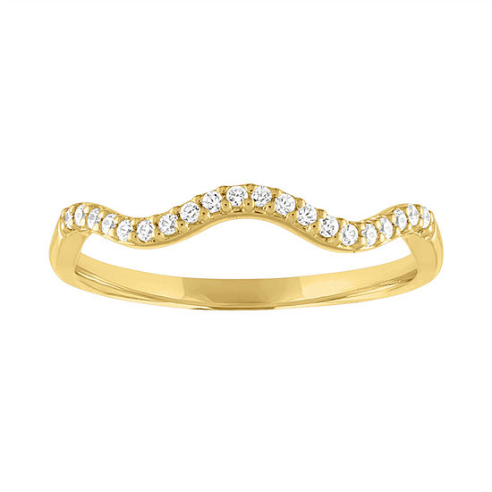 Womens 1/10 CT. T.W. Genuine White Diamond 10K Gold Wedding Stackable Ring
