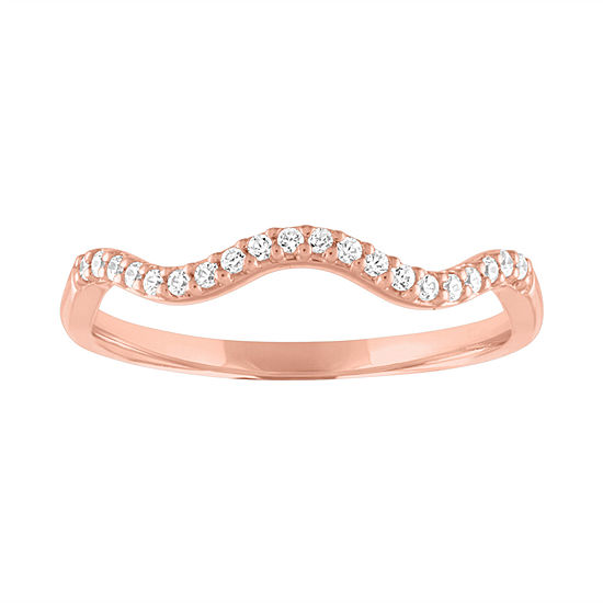 Womens 1/10 CT. T.W. Genuine White Diamond 10K Rose Gold Wedding Stackable Ring