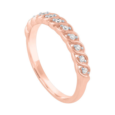 Womens 1/10 CT. T.W. Genuine White Diamond 10K Rose Gold Band