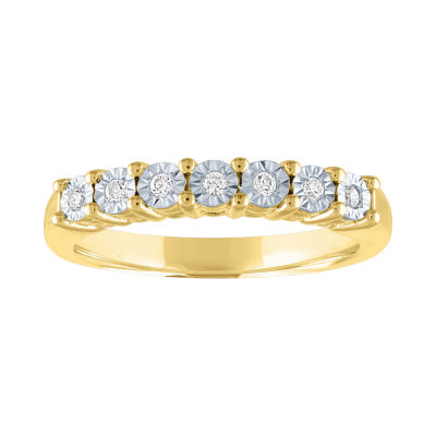 Womens 1/10 CT. T.W. Genuine White Diamond 14K Gold Over Silver Wedding Band