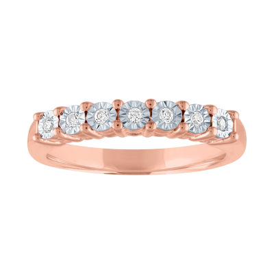 Womens 1/10 CT. T.W. Genuine White Diamond 14K Rose Gold Over Silver Wedding Band