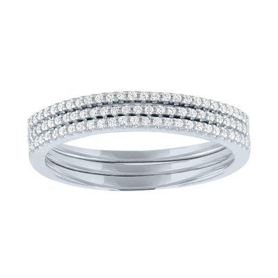 Womens 1/5 CT. T.W. Genuine White Diamond Sterling Silver Band