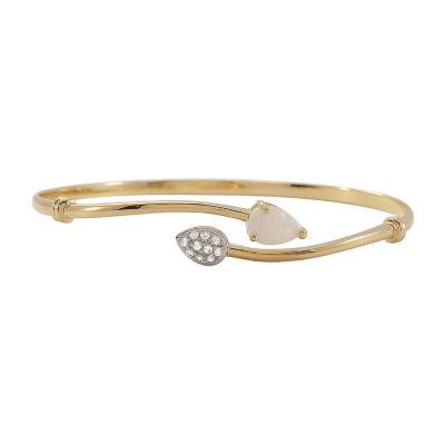 Lab-Created Opal & Lab-Created White Sapphire Bangle Bracelet