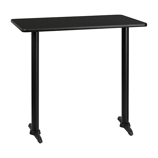 30'' x 42'' Rectangular Laminate Table Top with 5'' x 22'' Bar Height Table Bases