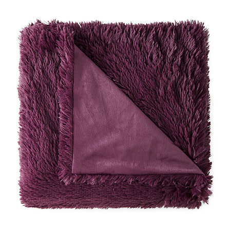 JCPenney Home Shag Knit Midweight Throw, One Size , Purple