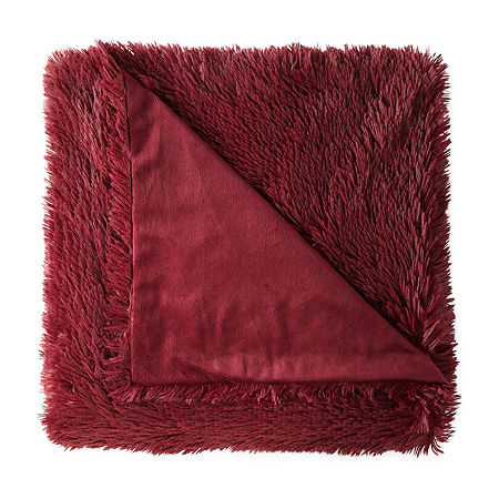 JCPenney Home Shag Knit Midweight Throw, One Size , Red