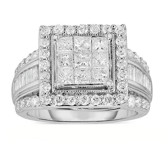 Womens 2 Ct T W Genuine Diamond 10k White Gold Engagement Ring