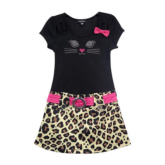 Lilt Little & Big Girls Short Sleeve Drop Waist Dress
