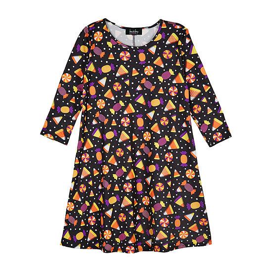 by & by Girls Long Sleeve Halloween  A-Line Dress - Big Kid