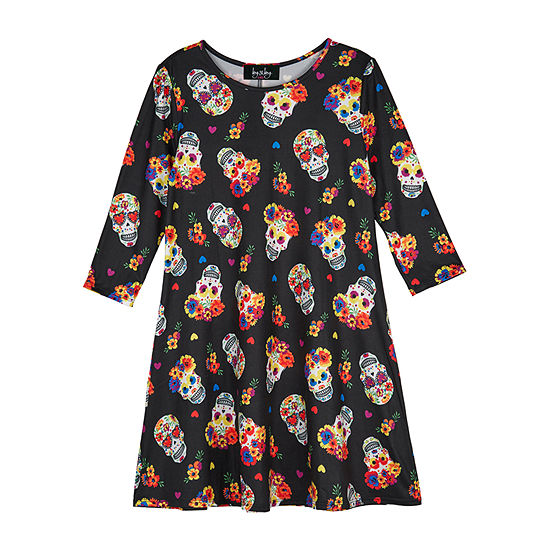 by&by girl By & By Girl Girls Long Sleeve Drop Shoulder Sleeve A-Line Dress - Big Kid