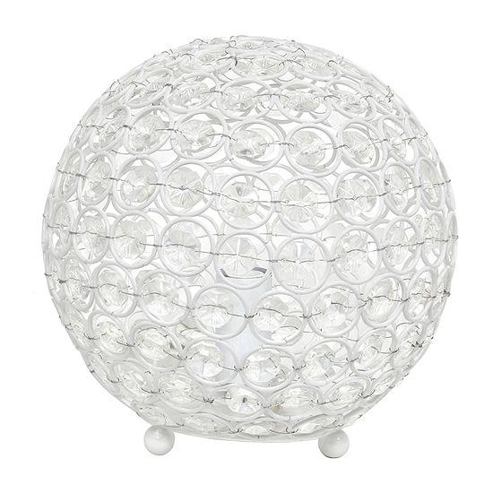 Elegant Designs Elipse 8 Inch Crystal Ball Sequin Metal Table Lamp