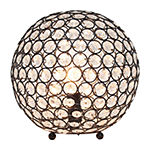 Elegant Designs Elipse 10 Inch Crystal Ball Sequin Metal Table Lamp