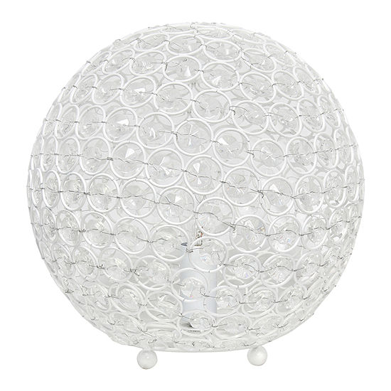 Elegant Designs Elipse 10 Inch Crystal Ball Sequin Metal Table Lamp