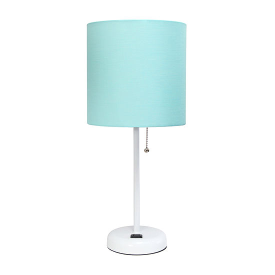 Limelights With Charging Outlet And Fabric Shade Metal Table Lamp