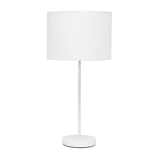 Simple Designs Fabric Shade With Metal Table Lamp