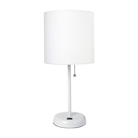 Limelights Usb Charging Port And Fabric Shade Metal Table Lamp