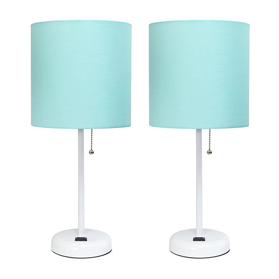 Limelights White Stick Lamp With Charging Outlet And Fabric Shade 2 Pack Set Lamp Set