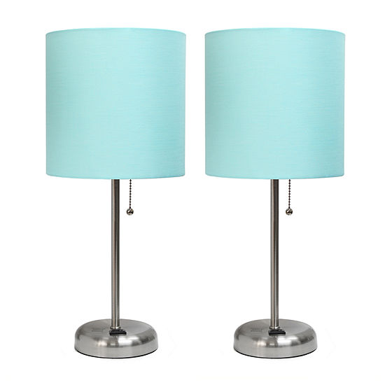 Limelights Brushed Steel Stick Lamp With Charging Outlet And Fabric Shade 2-pc. Lamp Set