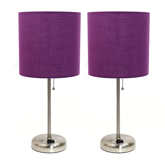 Limelights Brushed Steel Stick Lamp With Charging Outlet And Fabric Shade 2 Pack Set 2-pc. Lamp Set
