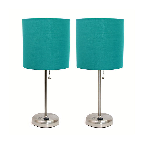 Limelights Brushed Steel Stick Lamp With Charging Outlet And Fabric Shade 2 Pack Set Lamp Set