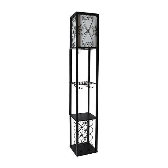 Simple Designs Organizer Storage Shelf And Manufactured Wood Floor Lamp