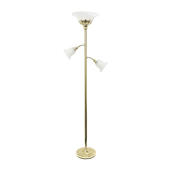Elegant Designs Scalloped Glass Shades Metal Floor Lamp