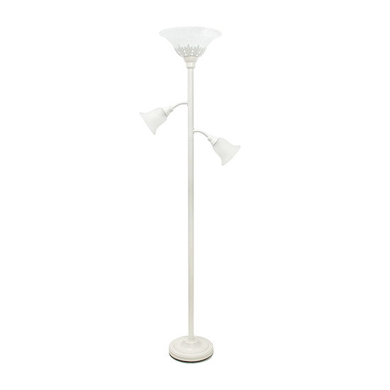 Elegant Designs Scalloped Glass Shades Metal Floor Lamp