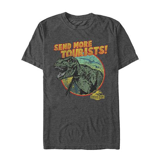 Jurassic Park T-Rex Send More Tourists Mens Crew Neck Short Sleeve Graphic T-Shirt