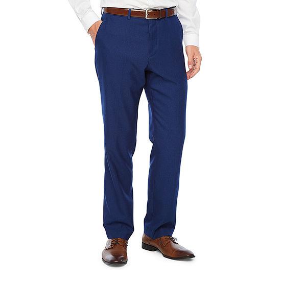JF J.Ferrar - Big and Tall Bright Blue Luster Striped Classic Fit Stretch Suit Pants