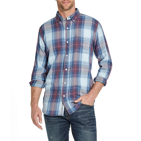 American Threads Washed Mens Long Sleeve Plaid Button-Down Shirt