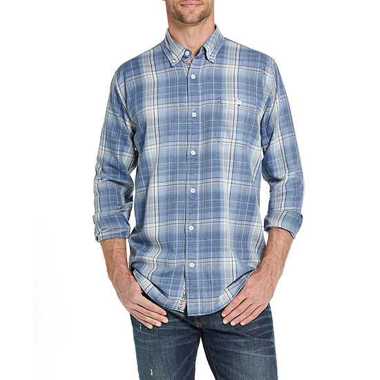American Threads Washed Mens Long Sleeve Plaid Button-Front Shirt