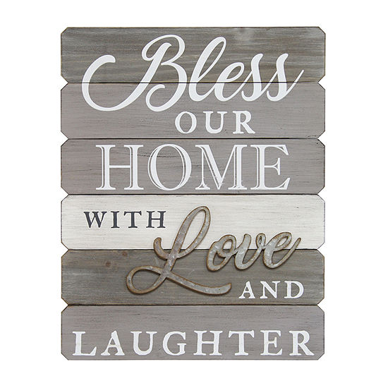 "Stratton Home Decor Stratton Home Decor ""Bless Our Home With Love And Laughter"" Wall Art Wall Sign"
