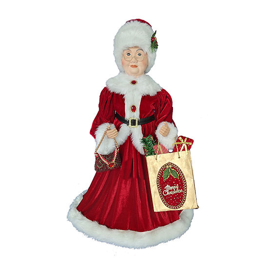 Kurt Adler 32-Inch Kringle Klaus Mrs. Claus With Shopping Bag Santa Figurine