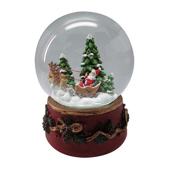 Kurt Adler 100mm Santa On Sleigh Musical Snow Globes