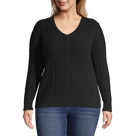 St. John's Bay-Plus Womens V Neck Long Sleeve Pullover Sweater