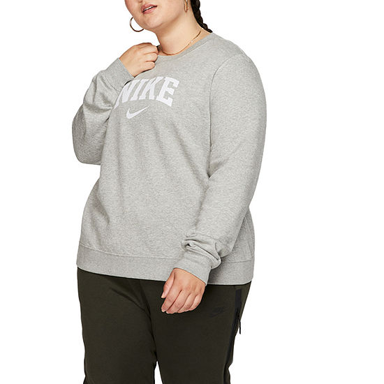 Nike Womens Round Neck Long Sleeve Hoodie Plus