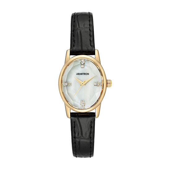 Armitron Womens Crystal Accent Black Leather Strap Watch-75/5719mpgpbk