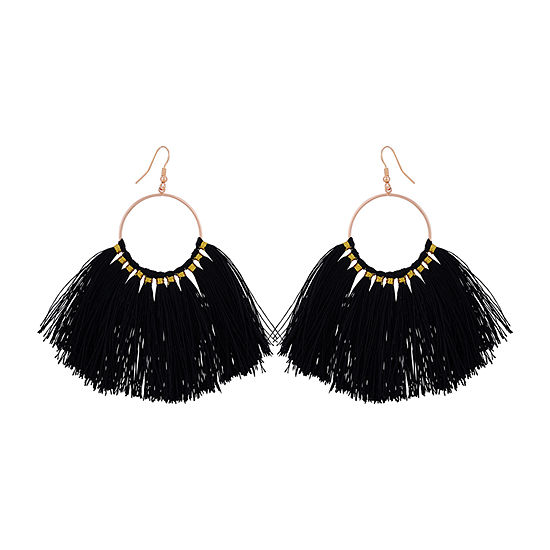 Bijoux Bar Fringe Black Hoop Earrings