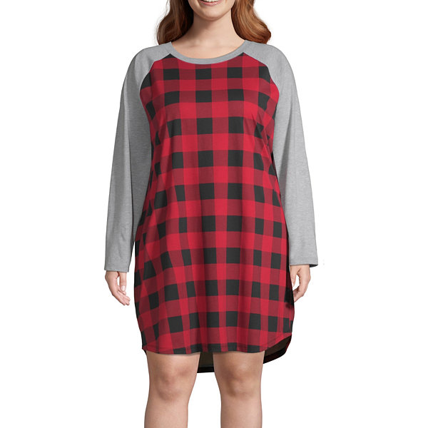 North Pole Trading Co. Buffalo Plaid Family Womens-Plus Nightshirt Long Sleeve Crew Neck